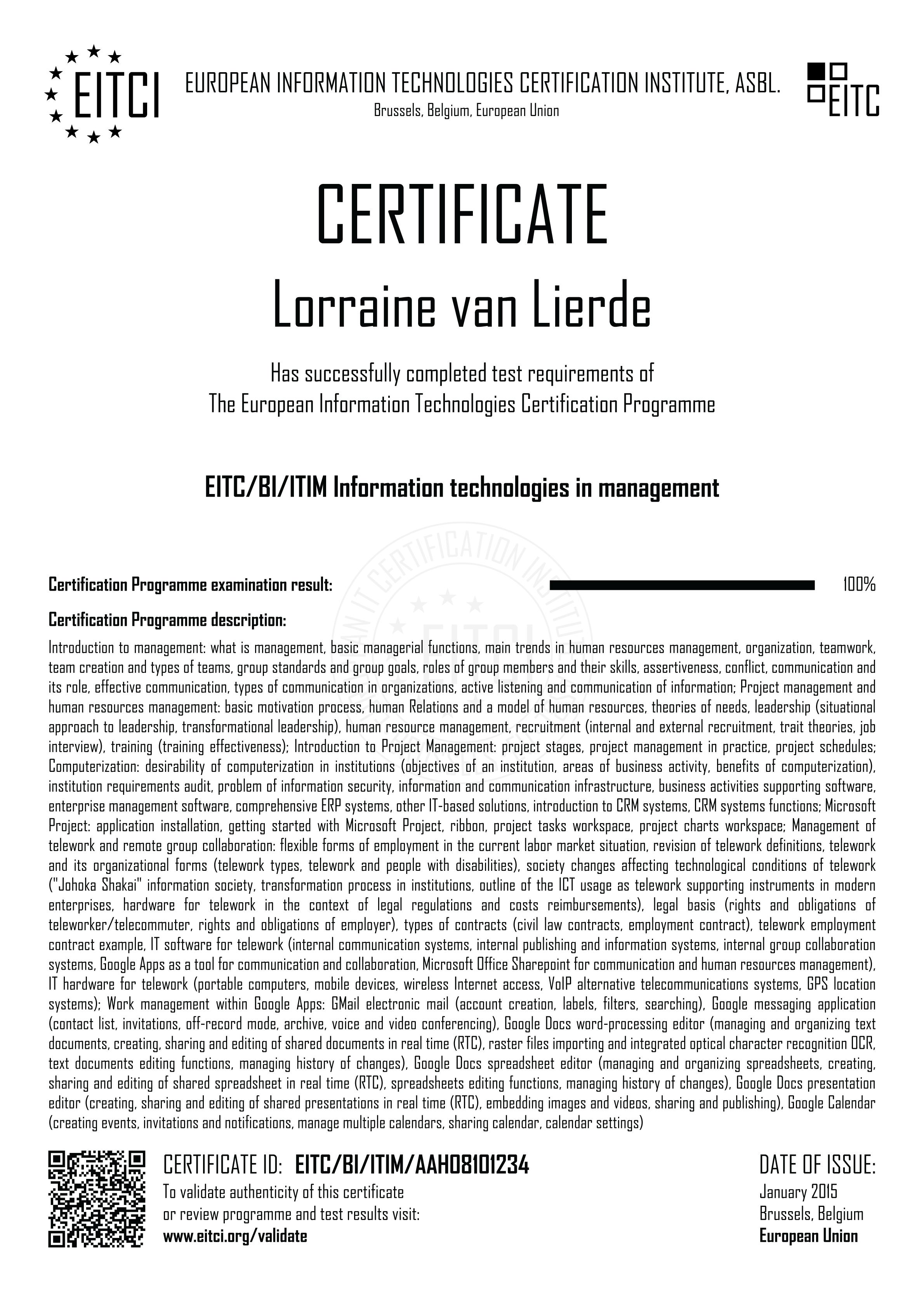 Eitcbiitim Information Technologies In Management Eitca Academy