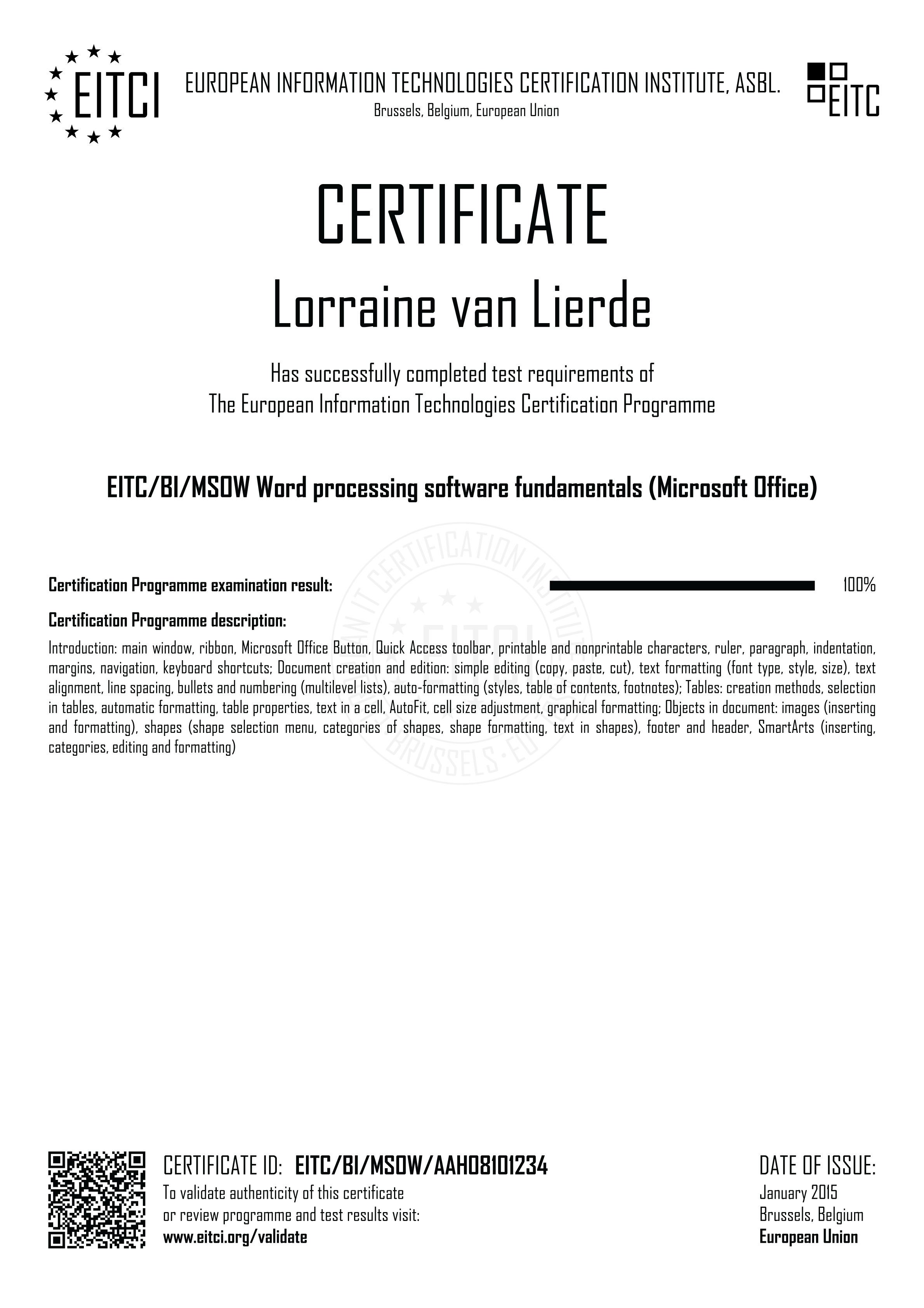 Eitcbimsow Word Processing Software Fundamentals Microsoft Office